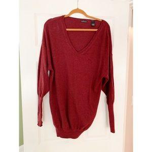 Oversized Red V Neck Sweater